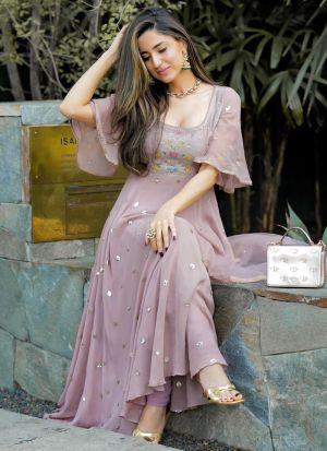 Dusty Rose Georgette Beautiful Fancy Thread Work Gown