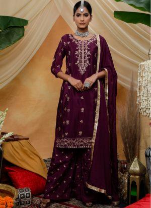 Eid Special Delightful Purple Chinon Pakistani Suits