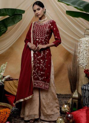 Eid Wear Maroon Chinon Fabric Palazzo Style Beautiful Suit