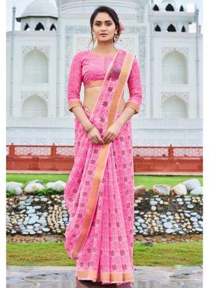 Elegant Baby Pink Wedding Wear Cotton Saree