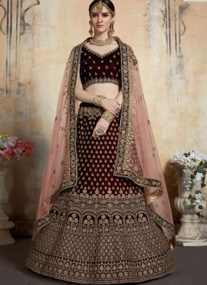 Elegant Collection Pure Velvet Maroon Color Wedding Bridal Designer Lehenga Choli
