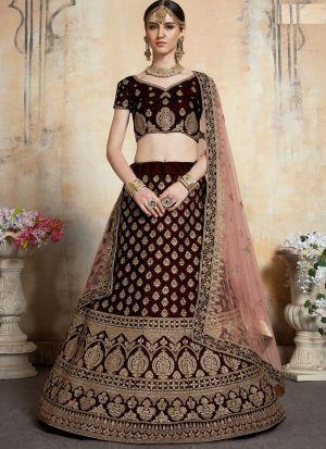 Elegant Collection Pure Velvet Maroon Wedding Bridal Designer Lehenga Choli