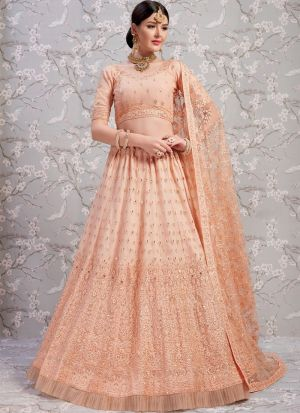 Elegant Collection Soft Net Peach Designer Lehenga Choli
