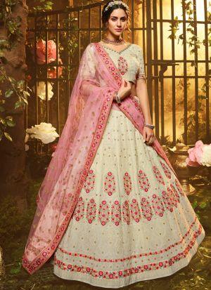 Elegant Collection White Lehenga Choli For Engagement