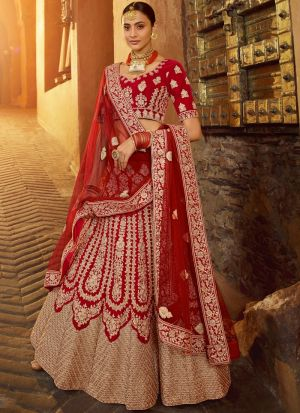Elegant Collection Zarkan Work Red Wedding Lehenga Choli