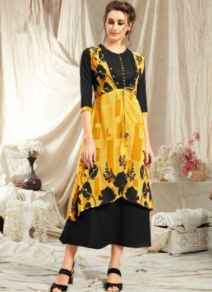 Elegant Look Rayon Yellow Kurti With Printed Jacket