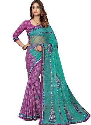 Elegant Multi Color Wedding Wear Jacquard Net Beautiful Saree