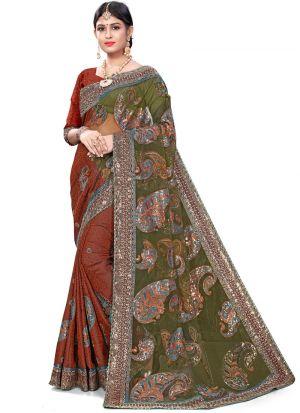 Elegant Multi Color Wedding Wear Jacquard Net Saree