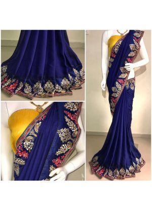 Elegant Navy Pure Vichitra Silk Designer Saree With Blouse Piece