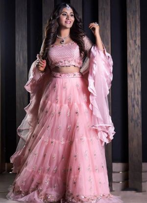 Elegant Pink Butterfly Mono Net Party Wear Lehenga Choli