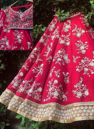 Elegant Pink Thread WorkWork Taffeta Silk Lehenga Choli