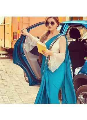 Elegant Sky Blue Georgette Designer Saree With Blouse Piece