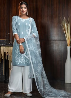 Elegant Sky Blue Thread Embroidered Work Palazzo Suit