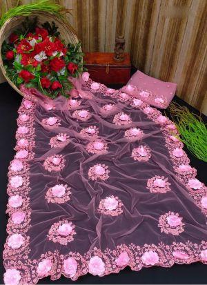 Embroidery Baby Pink Mono Net Saree