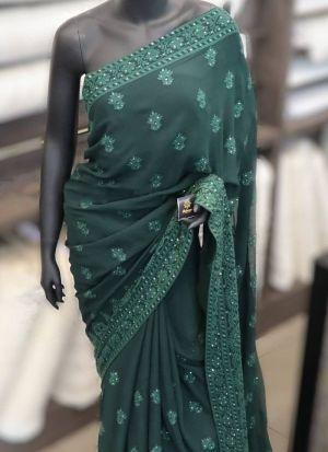 Embroidery Dark Green Faux Georgette saree