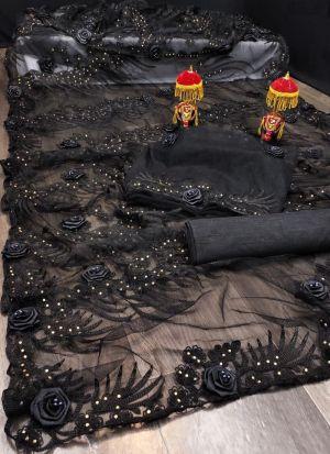 Embroidery Work Black Net Saree