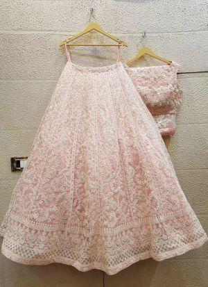 Embroidery Work Light Pink Lehenga Choli