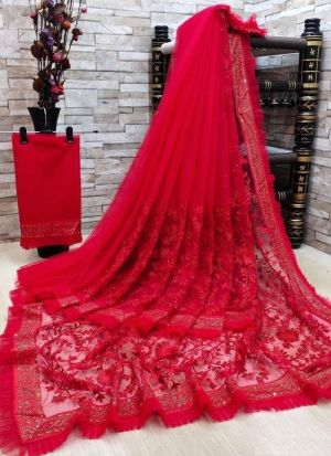 Embroidery Work Soft Net Red Saree