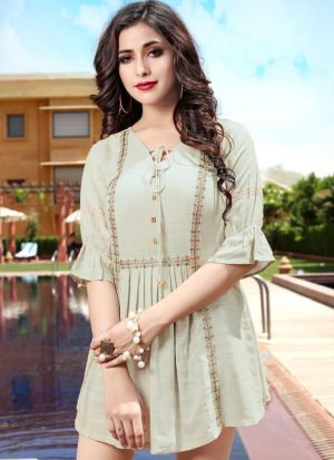 Empire Style Mint Cream Rayon Cotton Embroidered Top