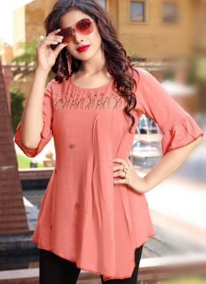 Empire Style Peach Rayon Cotton Embroidered Top