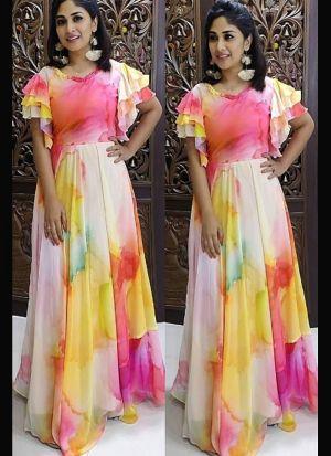 Engrossing Multi Color Georgette Dress