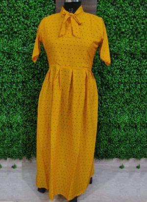 Everyday Wear Causal Yellow Heavy Crepe Kurti For Women