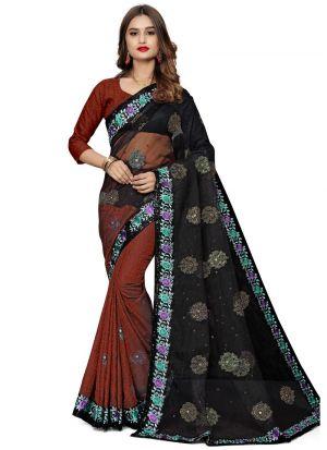 Exceptional Multi Color Jacquard Net Saree