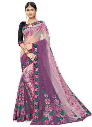 Exceptional Orchid Bemberg Saree