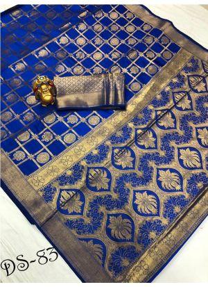Exclusive Blue Wedding Wear Banarasi Saree