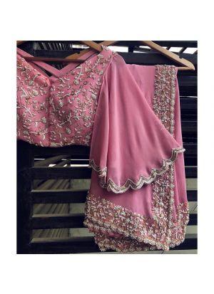 Exclusive Magenta Pink Designer Party Wear Saree With Designer Blouse