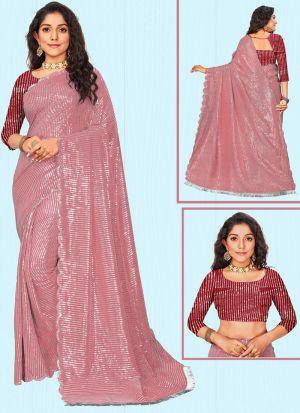Exclusive Pink Sequins Work Saree