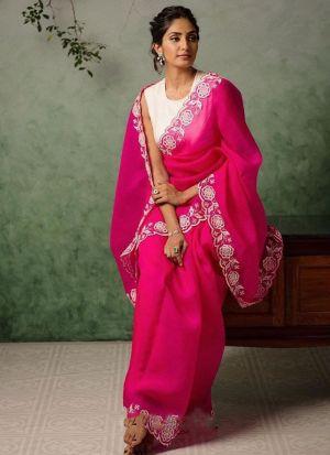 Exclusive Pink Soft Pure Organza Saree
