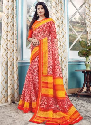 Exclusive Red Wedding Wear Kota Saree With Blouse