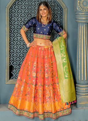 Exclusive Two Tone Pink Banarasi Silk Lehenga Choli