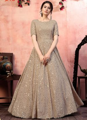 Exotic Beige Sequence Work Gown
