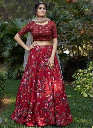 Exotic Maroon Crepe Silk Lehenga Choli