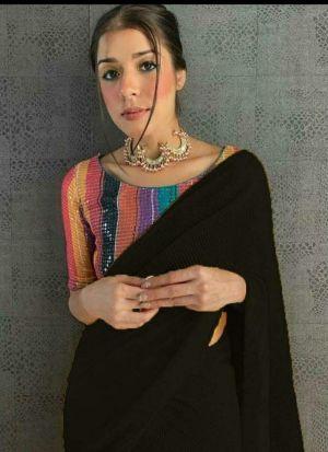 Exquisite Black 60 Gm Georgette Saree