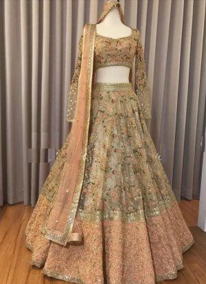 Exquisite Peach Embroidery Lehenga Choli