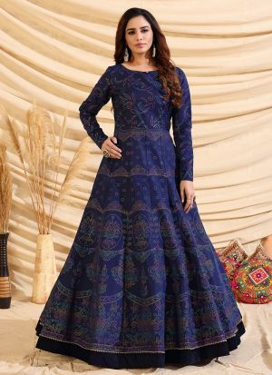 Eye Captivating Navy Blue Taffeta Silk Gown