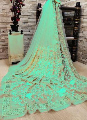 Eye Captivating Sea Green Soft Net Saree