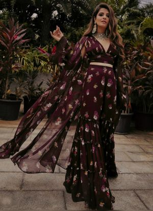 Eye Catching Digital Printed Wine Sharara Suit