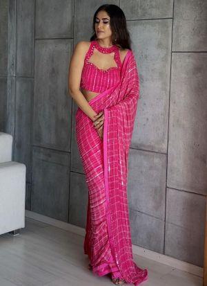 Eye Catching Hot Pink Georgette Saree
