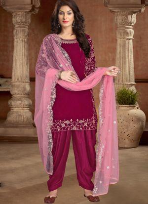 Eye Catching Magenta Pink Velvet Salwar Suit For Wedding