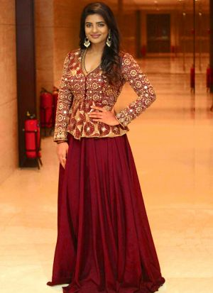 Eye Catching Maroon Crepe Lehenga With Embroidered Top