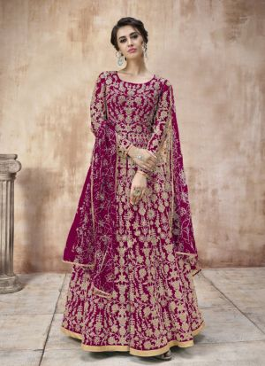 Eye Catching Net Anarkali Suit With Cording Work