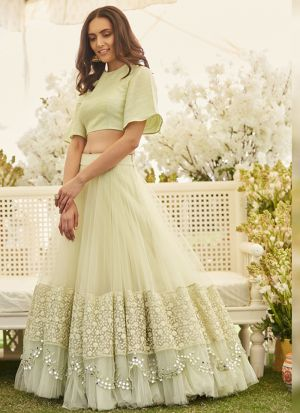 Eye Catching Pastel Green Net Zari Embroidered Lehenga Choli