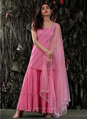 Eye Catching Pink Georgette Palazzo Suit