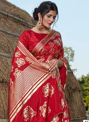 Eye Catching Red Printed Silk Saree