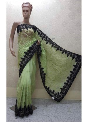 F Green Color Launching New Version Blockbuster Superhit Design Heavy Net Saree