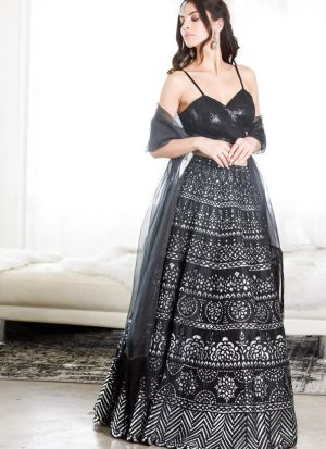 Fairytale Black Tafetta Silk Embroidered Lehenga Choli